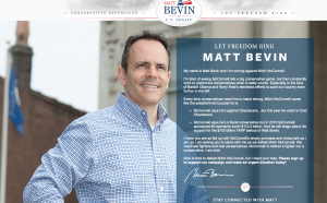 A screen shot from the senate campaign website for Matt Bevin.
