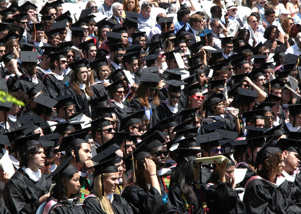 College costs vary by type and quality of institution, and so does the return on investment of that tuition cost. Photo of 2012 Vassar College commencement by Paul Zimmerman/Getty Images.