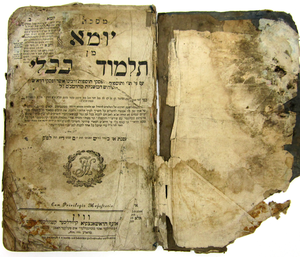 This 1793 Babylonian Talmud was one of several sacred Jewish texts that was recovered from the basement of Saddam Hussein's intelligence headquarters. The items were rescued and brought to the U.S. to be restored. Photo by U.S. National Archives