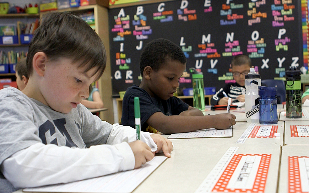 Students from Estes Elementary in suburban Asheville, North Carolina, live in a state that has adopted Common Core, a set of academic standards in mathematics and English language arts and literacy. Photo by Mike Fritz/PBS NewsHour