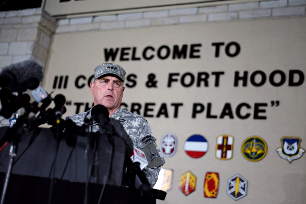 Lt. Gen. Mark Milley speaks at a news conference, following the shooting at the Fort Hood military base on Wednesday evening. The incident left four dead and at least three in critical condition. Photo by Charlie Pierce / The Daily Texan