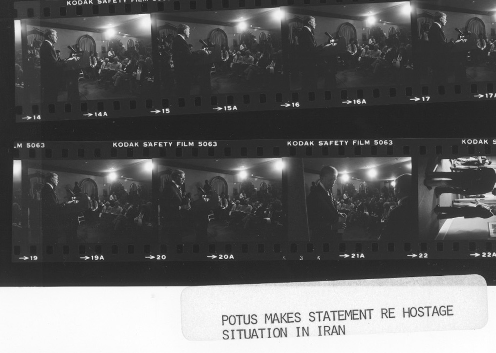 A contact sheet shows images of U.S. President Jimmy Carter addressing the nation about the Iran Hostage Crisis in November, 1980. Photo: U.S. National Archives