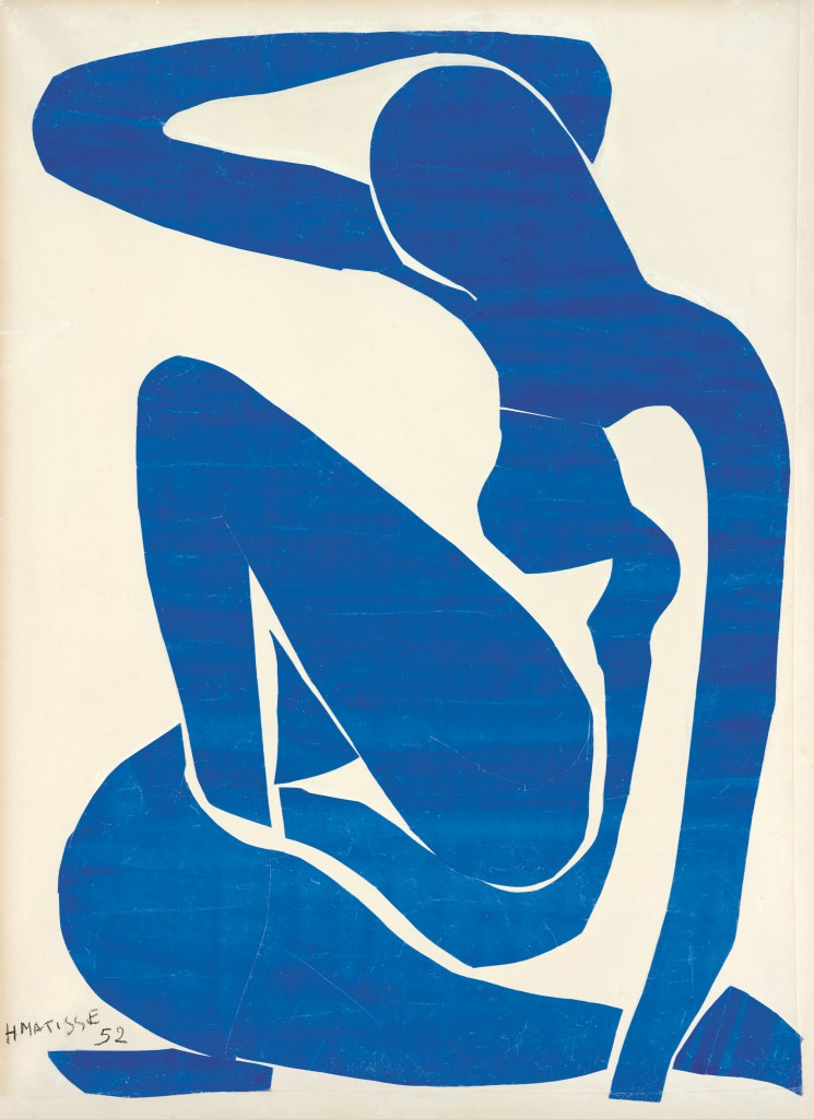 """Blue Nude (I) 1952."" Gouache painted paper cut-outs on paper on canvas. Art by Henri Matisse/Photo by Robert Bayer, Foundation Beyeler, Riehen/Basel"