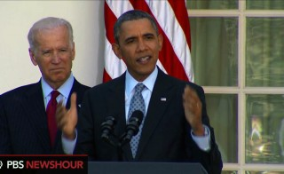 President Barack Obama announces in the White House Rose Garden that health care enrollments have topped 7.1 million.