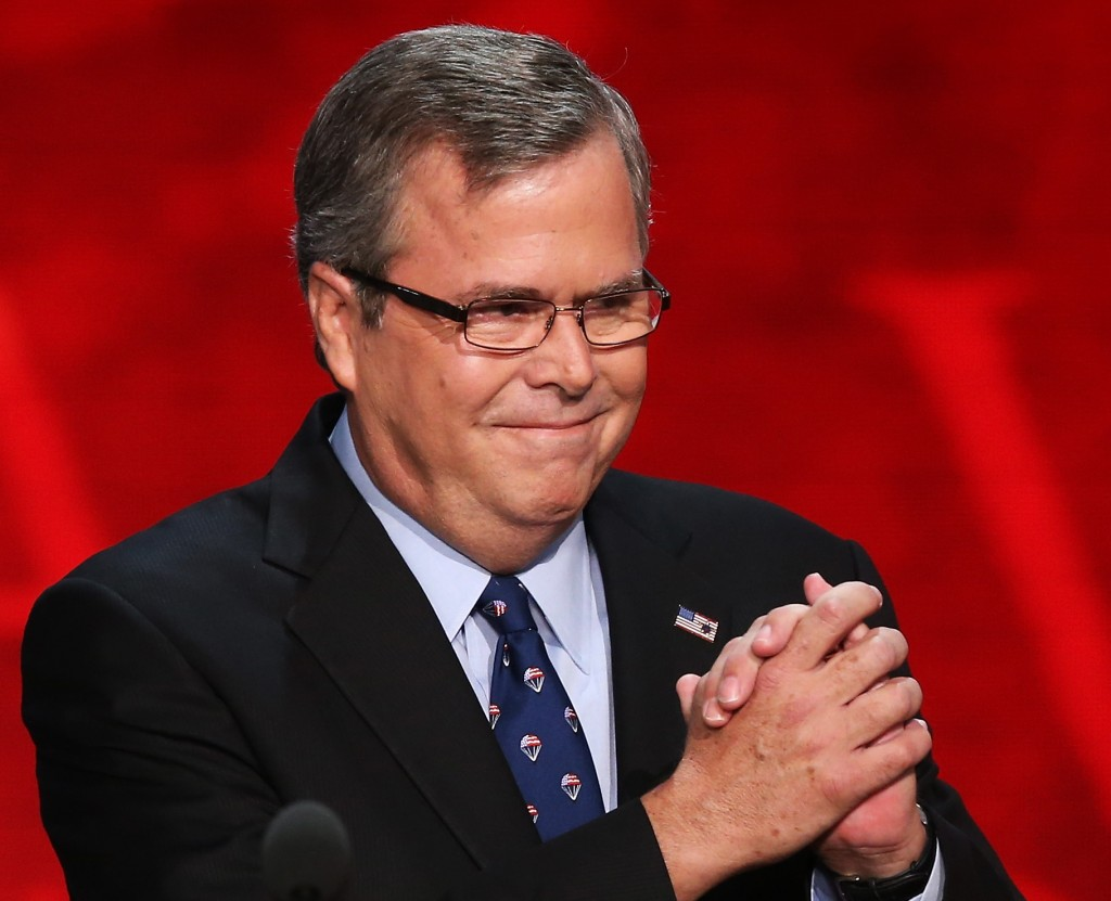 Former Florida Gov. Jeb Bush takes the stage during the final day of the Republican National Convention at the Tampa Bay Times Forum on August 30, 2012. Photo by Mark Wilson/Getty Images