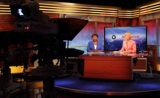 Gwen Ifill and Judy Woodruff on the set of the PBS NewsHour. Photo by Joshua Barajas