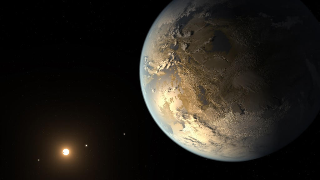 Artist's rendering of Kepler-186f, an Earth-sized exoplanet that could theoretically maintain liquid water on its surface. The planet was discovered by the Kepler Space Telescope, and it marks another step in finding other habitable planets in the Milky Way Galaxy. Image courtesy NASA Ames/SETI Institute/JPL-CalTech