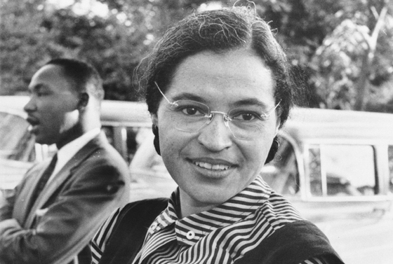 Rosa Parks, a prominent figure in the civil rights movement, with Dr. Martin Luther King Jr. Photo courtesy of USIA / National Archives