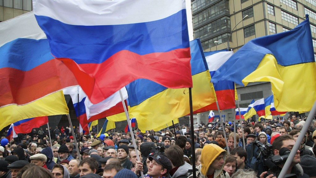 Russian flags are raised as a protest in Ukraine.