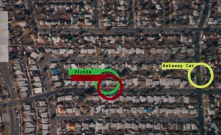 "A look from above at wide-area surveillance technology in action. The tool is described in a new report by the Center for Investigative Reporting and KQED as ""Google Earth with a rewind button."" Credit: CIR"