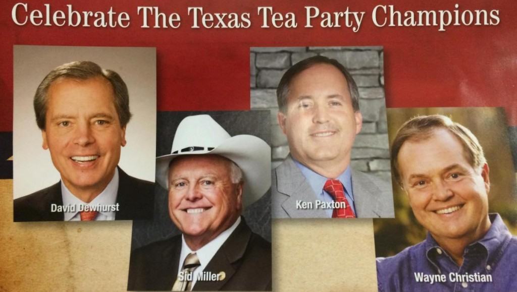 An anonymous mailer appearing across Texas links incumbent Lt. Gov. David Dewhurst with Tea Party favorites, even though most Tea Party groups back Dewhurst's opponent, State Sen. Dan Patrick. Image courtesy of KUT