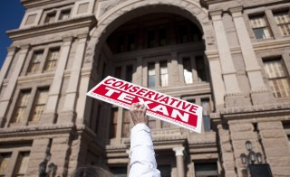 Is the tea party still alive and well in Texas? The state's primary runoff election is May 27. File photo of a 2011 tea party rally in Austin by Ben Sklar/Getty Images