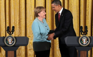 President Barack Obama and German Chancellor Angela Merkel are putting on a display of trans-Atlantic unity against an assertive Russia. File photo from 2011 by Alex Wong/Getty Images