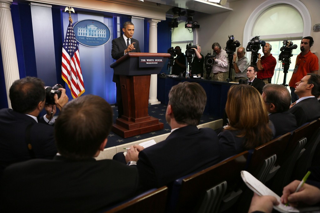 WASHINGTON, DC - AUGUST 20: U.S. President Barack Obama speaks during the daily press briefing at the James Brady Press Briefing Room of the White House August 20, 2012 in Washington, DC. Obama made a surprised visit to the briefing and answered questions from the White House press corps. (Photo by Alex Wong/Getty Images)
