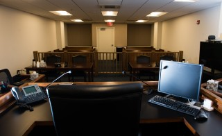 An immigration courtroom sits empty in Arlington, Va. Photo by Sarah L. Voisin/The Washington Post.