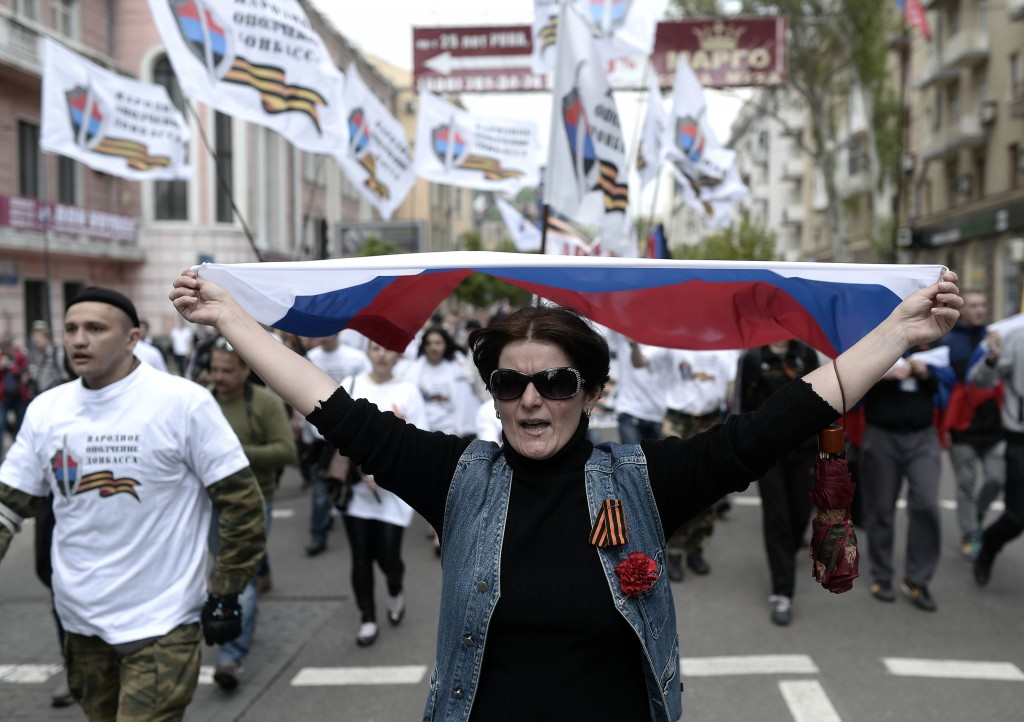 Pro-Russians attend the May Day rally in Donetsk, Ukraine on May 1, 2014. Photo by Burak Akbulut/Anadolu Agency/Getty Images