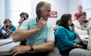 North Carolina Speaker of The House and GOP Senate candidate Thom Tillis, R-NC, makes  calls to voters alongside phone bank volunteers  two days before the state's primary election. Photo By Bill Clark/CQ Roll Call