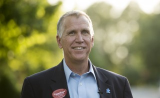 GOP Senate nominee Thom Tillis knocked on doors in Huntersville, N.C., Monday, the evening before North Carolina's primary election. Photo By Bill Clark/CQ Roll Call