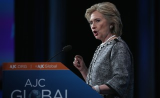 Former U.S. Secretary of State Hillary Clinton addresses the American Jewish Committee Global Forum  in Washington, DC on May 14. Photo by Alex Wong/Getty Images