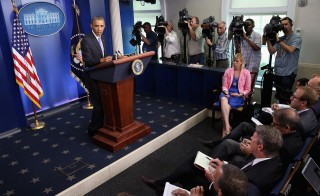 President Obama speaks to reporters about the recent problems at the Veterans Affairs Department in the Brady Press Briefing Room at the White House Wednesday. Photo by Chip Somodevilla/Getty Images