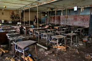 Hurricane Katrina destroyed many schools in New Orleans, inlcuding this science classroom at Hardin E.S. in the lower 9th ward of New Orleans photographed in 2006. Photo by Michael Williamson/Washington Post/Getty Images