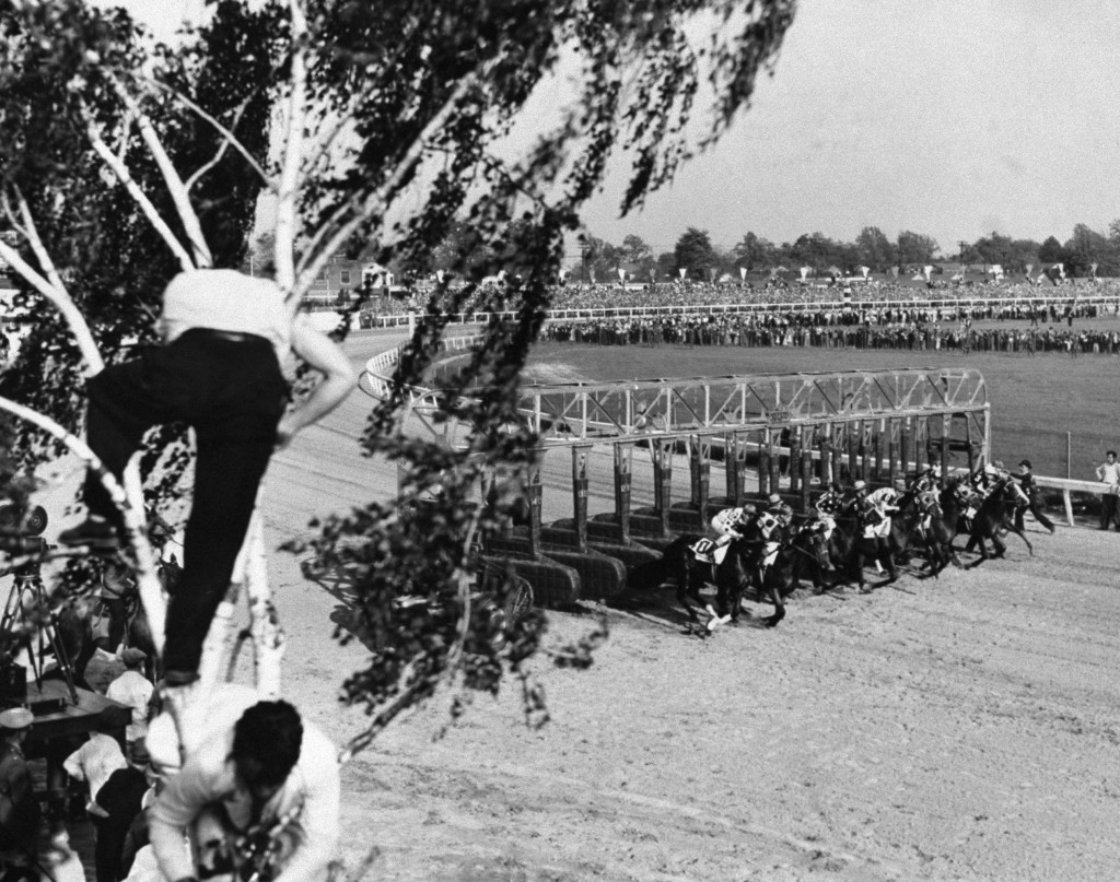 Horses leave the starting gate at the 1939 Kentucky Derby. From left are: T.M. Dorsett (10); Challedon (9); Technician (8); Johnstown (6); On Location (5); Viscounty (4); Heather Broom (3) and El Chico (2).  Photo by Charles Hoff/NY Daily News Archive via Getty Images