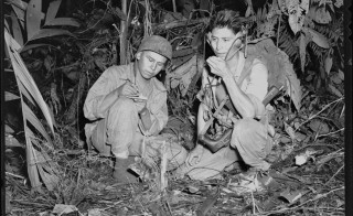 Navajo Indian Code Talkers Henry Bake and George Kirk with a Marine signal unit in December 1943. Photo Credit: National Archives and Records Administration