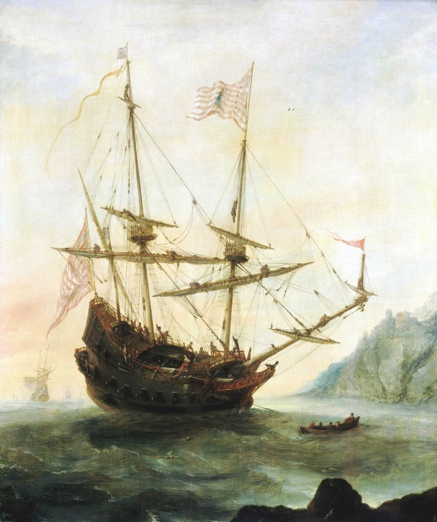 Painting of the flagship Santa Maria, circa 1628, by Andries van Eertvelt. Image courtesy of National Maritime Museum
