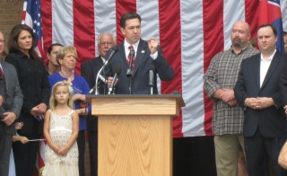 Mississippi state Sen. Chris McDaniel announces his candidacy for U.S. Senate on the steps of the Ellisville, Miss. courthouse in October 2013. Photo by Paul Boger / MPB