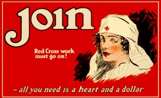 A Red Cross nurse is featured prominently on this recruiting poster, circa 1917. Photo by Getty Images