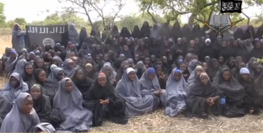 A screen grab from a video obtained by the AFP reportedly shows the nearly 300 girls kidnapped by Boko Haram in Nigeria.