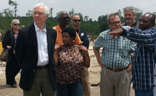 Sen. Thad Cochran, left, tours the site recently devastated by a recent tornado in Northeast Mississippi. Photo courtesy of MPB