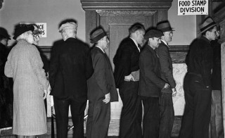 Applicants for food stamps wait in line in Rochester, New York. Photo courtesy of National Archives and Records Administration