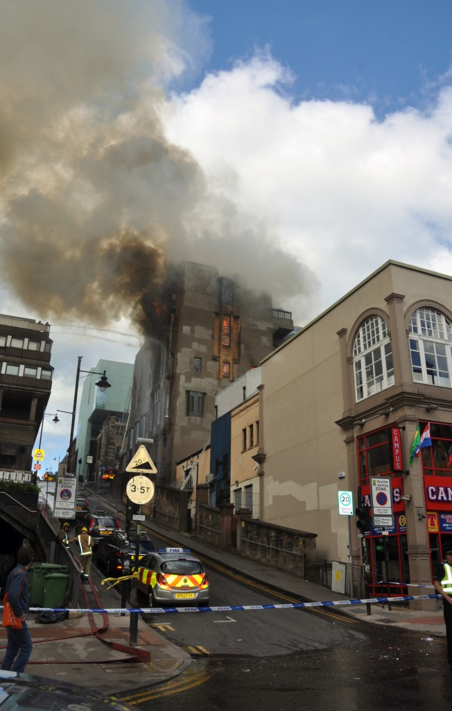 Flames consume the Glasgow School of Art in Scotland