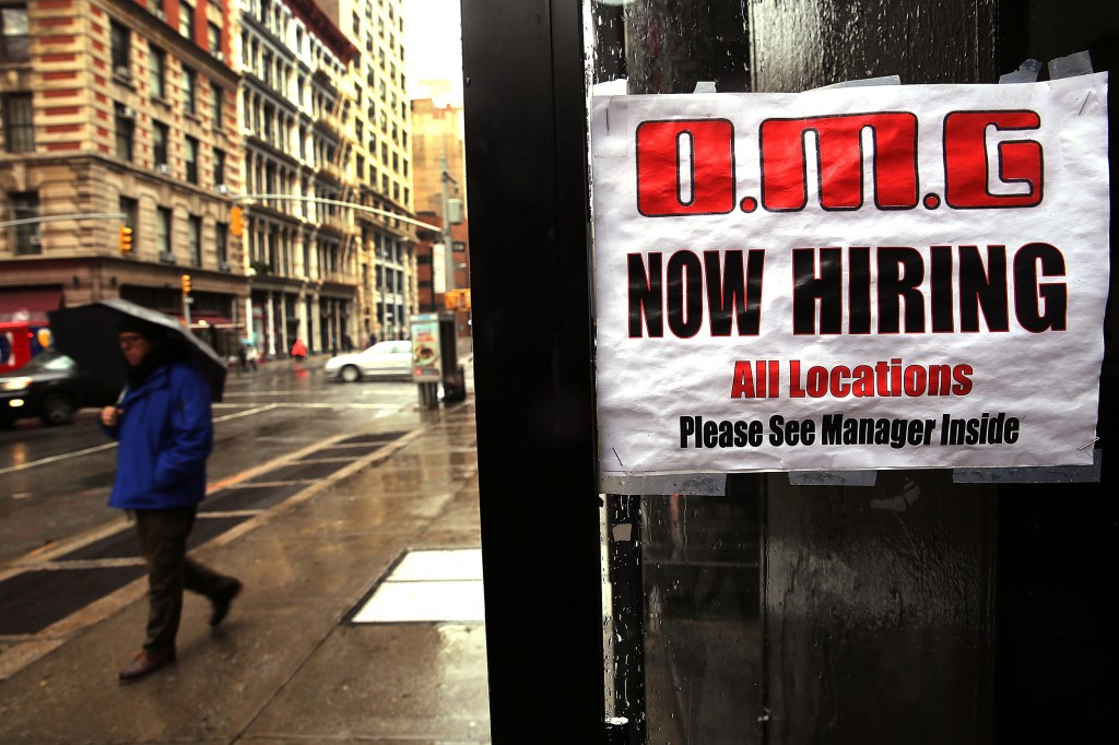 While 700,000 fewer people were unemployed last month, 800,000 Americans dropped out of the labor force, meaning they did not report looking for work. Photo by Spencer Platt/Getty Images.