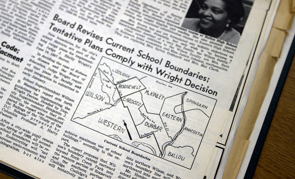 An article from the Wilson High School Beacon about the drawing of Washington, D.C. school boundaries to further integrate schools in 1968.