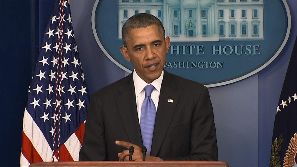 President Obama holds a press conference after meeting with VA affairs secretary Shinseki about issues with falsified reports and documents at VA hospitals. Video still by PBS NewsHour