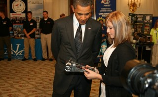 President Obama studies a student's 2010 White House Science Fair submission. Photo by Matt Blum/Flickr