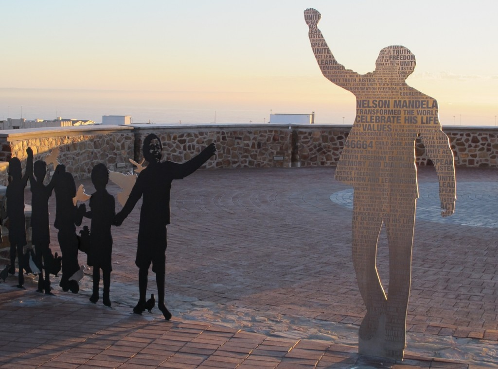 A sculpture at Port Elizabeth's Donkin Reserve commemorates South Africa's first all-race election in 1994. Voters there will come out on Wednesday for the first time since the death of Nelson Mandela. Photo by Sue Hoppe/Wikimedia Commons