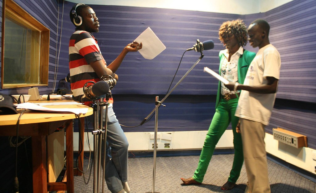 "Sawa Shabab producer Alsanosi Osman and actors playing ""Winnie"" and ""Hakim"" record episode 3 in Nairobi, Kenya. The Dinka and Nuer language actors had to go to Nairobi because of the violence in South Sudan. Photo courtesy of Sawa Shabab"
