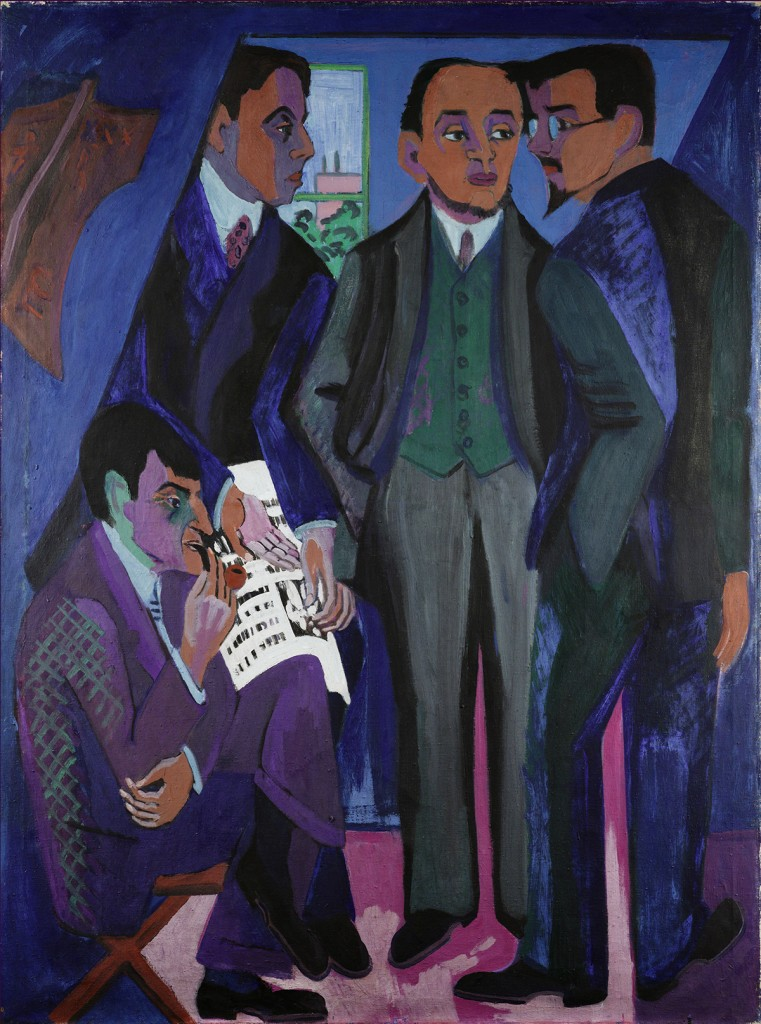 Ernst Ludwig Kirchner (1880-1938) A Group of Artists (The Painters of the Brücke), 1925-26 Oil on canvas 66 1/8 x 49 5/8 in. (168 x 126 cm) Museum Ludwig, Cologne Photo: © Rheinisches Bildarchiv Cologne