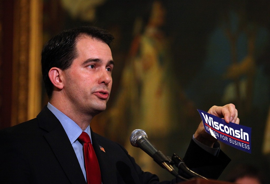 State prosecutors say the 2011 and 2012 campaign of Wisconsin Gov. Scott Walker, seen here in March 2011, broke election laws. Photo by Justin Sullivan/Getty Images
