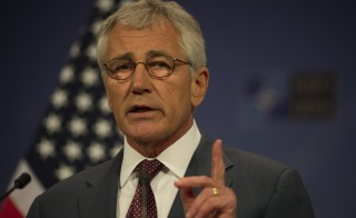 Secretary of Defense Chuck Hagel conducts a press briefing at the NATO Headquarters in Brussels Belgium June 4, 2014. Official DoD Photograph by Sgt. Aaron Hostutler USMC
