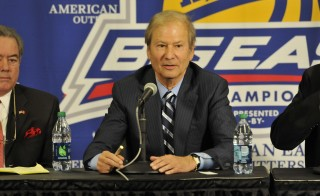 NEW YORK, N.Y.  - MARCH 7, 2012: Lewis Katz, Board of Trustees and Chairman of the Athletic Committee, Temple University at the press conference announcing Temple University's admission to the BIG EAST Conference during the 2012 BIG EAST Conference Men's Basketball Championships at Madison Square Garden in New York, NY on March 7, 2012. (Photo by Tom Maguire/BIG EAST Conference/Collegiate Images/Getty Images)