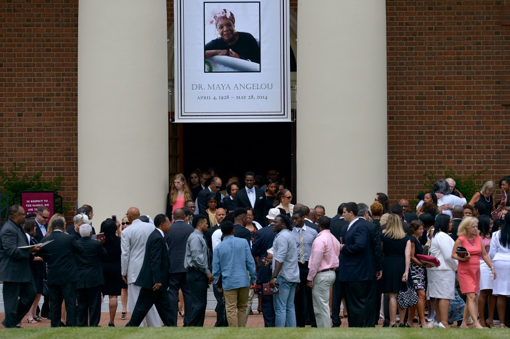 "attend ""A Celebration of Rising Joy,' a funeral service for Dr. Maya Angelou held at Wait Chapel on the campus of Wake Forest University on June 7, 2014 in Winston Salem, North Carolina."