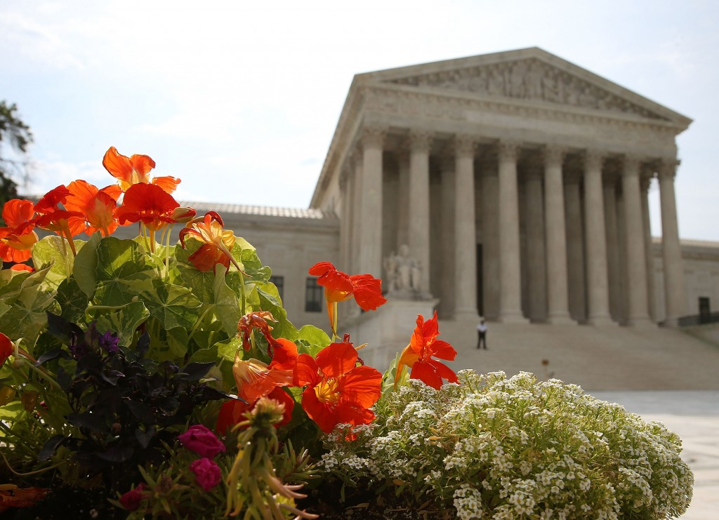 Flowers bloom in front of the U.S. Supreme Court in Washington, D.C., on June 9. Photo by Mark Wilson/Getty Images