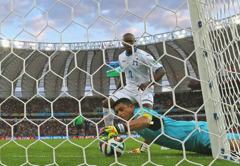 Goalkeeper Noel Valladares of Honduras scores an own goal, France's second, as he fumbles the ball over the line during the 2014 FIFA World Cup Brazil Group E match between France and Honduras at Estadio Beira-Rio on June 15, 2014 in Porto Alegre, Brazil. Photo by Quinn Rooney/Getty Images