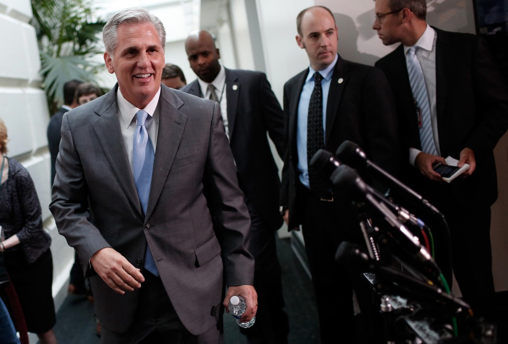 House Republican Whip, Rep. Kevin McCarthy (R-CA), leaves a meeting of the House Republican conference June 18, 2014 at the U.S. Capitol in Washington, DC. McCarthy has been elected to the position of House Majority Leader  to replace Rep. Eric Cantor (R-VA) who was defeated in primary race last week. (Photo by Win McNamee/Getty Images)