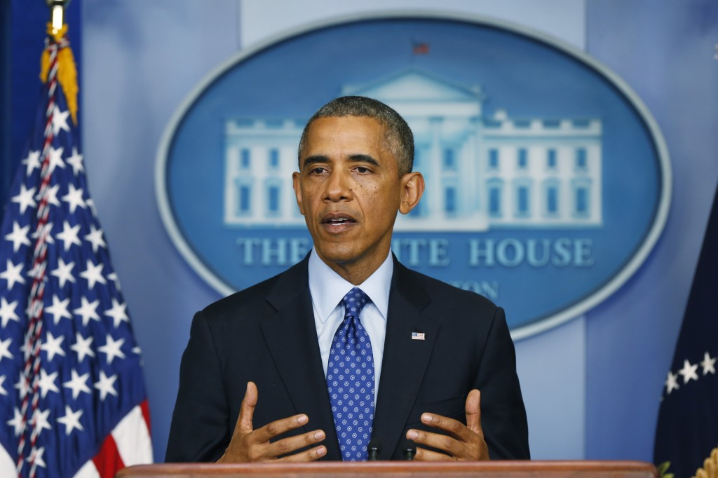 President Obama speaking in the Brady Briefing room of the White House in June. Photo by Win McNamee/Getty Images