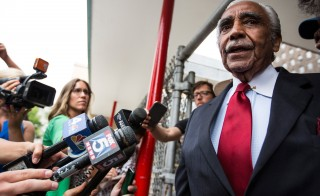 Rep. Charles Rangel, D-N.Y., speaks to the media after voting in the Democratic primary for the 13th congressional district of New York on June 24. Photo by Andrew Burton/Getty Images
